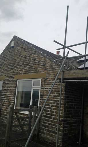 Image showing scaffolding around Roofing insulation services Halifax